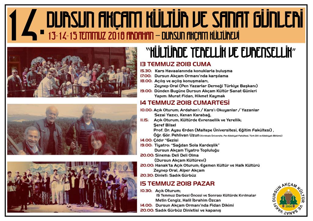 14. Dursun Akçam Kültür ve Sanat  Günleri 13-14-15 Temmuz'da