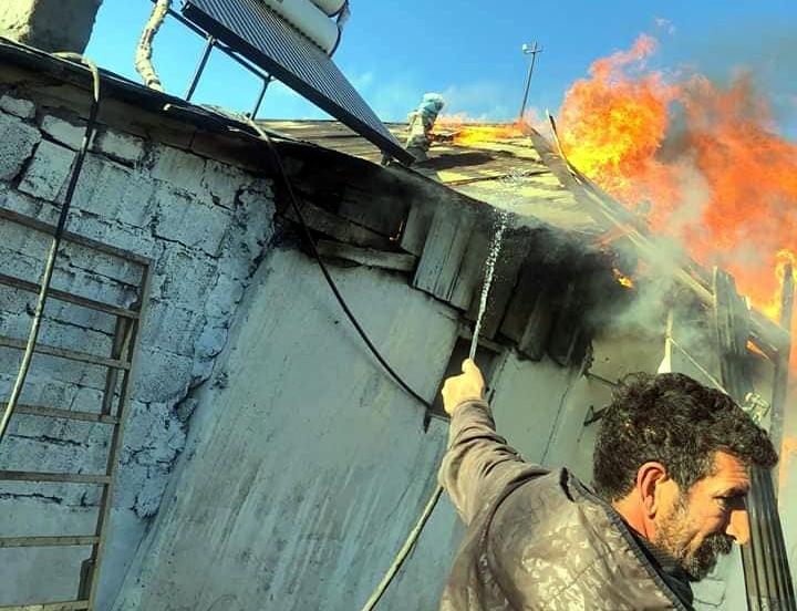 Okçu köyünde korkutan yangın!